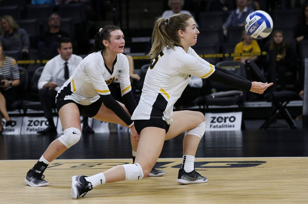 Iowa Hawkeyes outside hitter Meghan Buzzerio (5) bumps the ball during a match against Penn State at Carver-Hawkeye Arena on November 3, 2018. (Tork Mason/hawkeyesports.com)