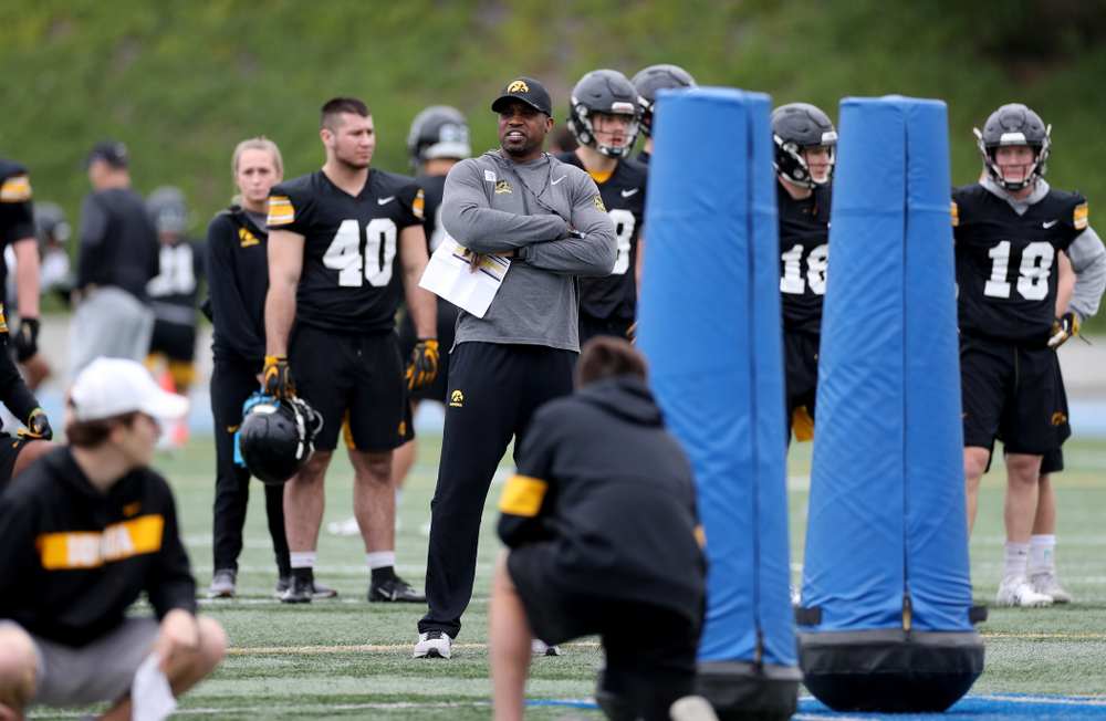 Iowa Hawkeyes wide receivers coach Kelton Copeland  during practice Sunday, December 22, 2019 at Mesa College in San Diego. (Brian Ray/hawkeyesports.com)