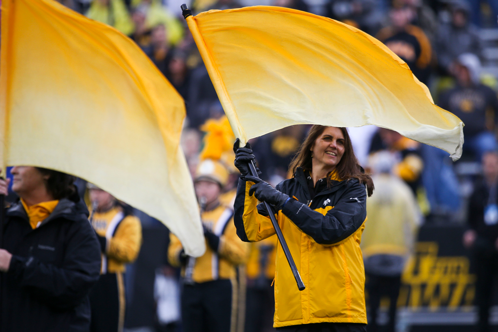 The Iowa Alumni Color guard during Iowa football vs Purdue on Saturday, October 19, 2019 at Kinnick Stadium. (Lily Smith/hawkeyesports.com)