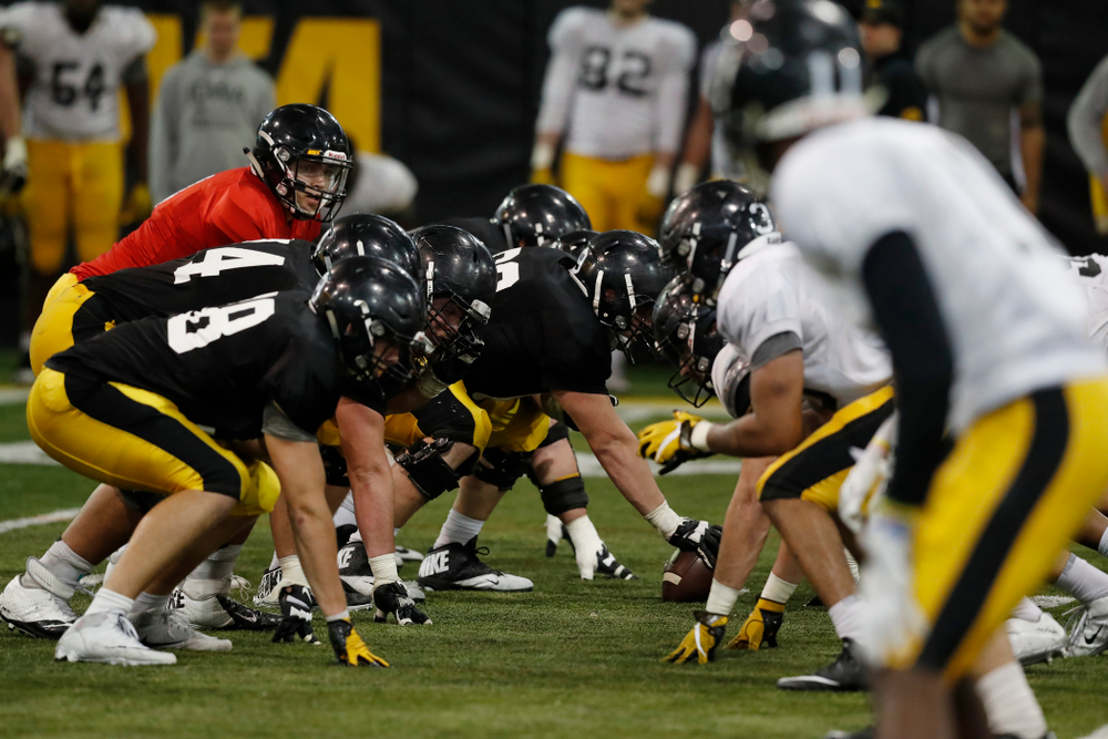 The Iowa Hawkeyes during spring practice No. 13 Wednesday, April 18, 2018 at the Hansen Football Performance Center. (Brian Ray/hawkeyesports.com)