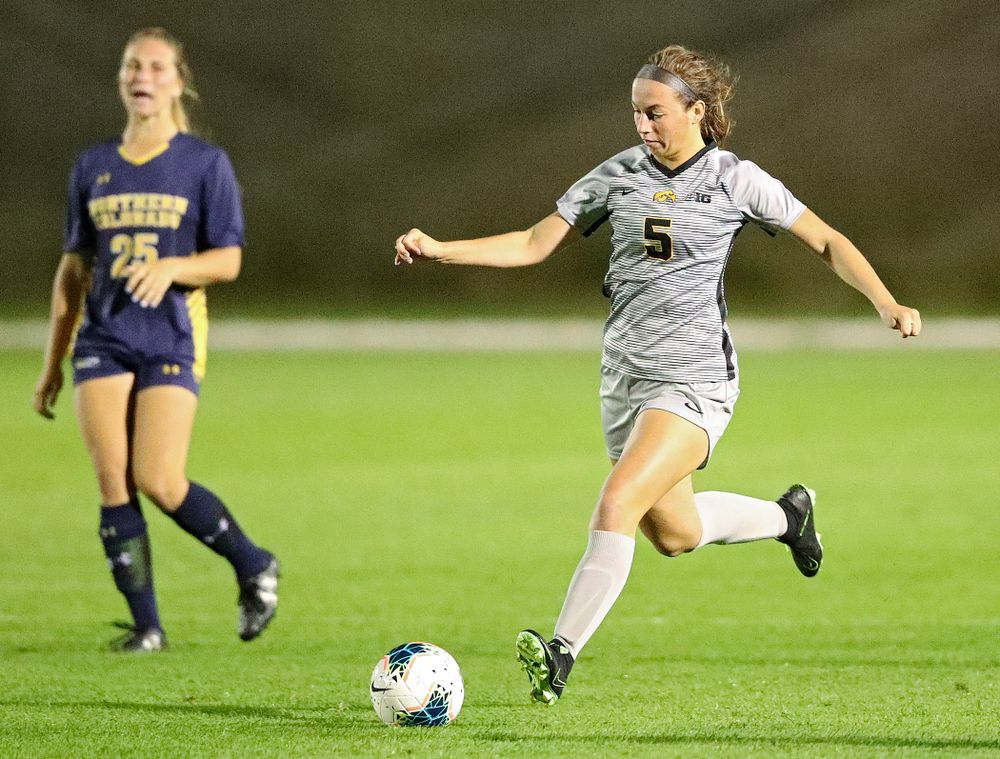Iowa defender Riley Whitaker (5) passes during the second half of their match at the Iowa Soccer Complex in Iowa City on Friday, Sep 13, 2019. (Stephen Mally/hawkeyesports.com)