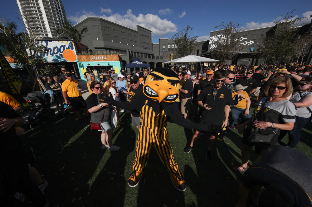 Herky The Hawk during their Hawkeye Huddle Monday, December 31, 2018 at Sparkman Wharf in Tampa, FL. (Brian Ray/hawkeyesports.com)