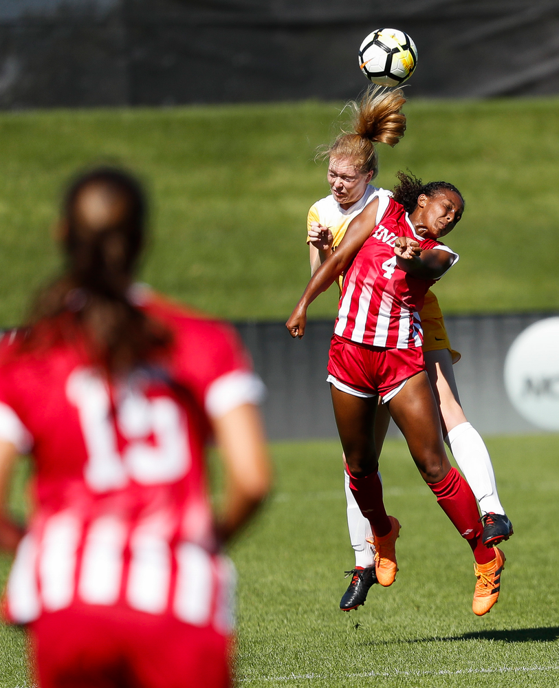 Iowa Hawkeyes defender Morgan Kemerling (3) heads the ball during a game against Indiana at the Iowa Soccer Complex on September 23, 2018. (Tork Mason/hawkeyesports.com)