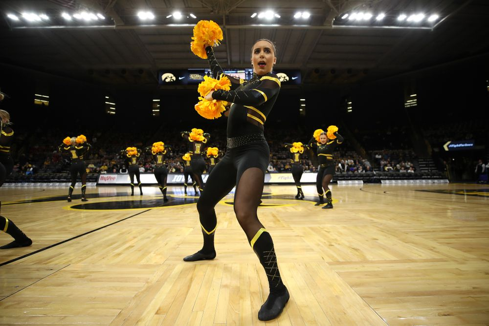 The Iowa Dance Team performs at halftime of the Iowa Hawkeyes game against the Nebraska Cornhuskers Thursday, January 3, 2019 at Carver-Hawkeye Arena. (Brian Ray/hawkeyesports.com)