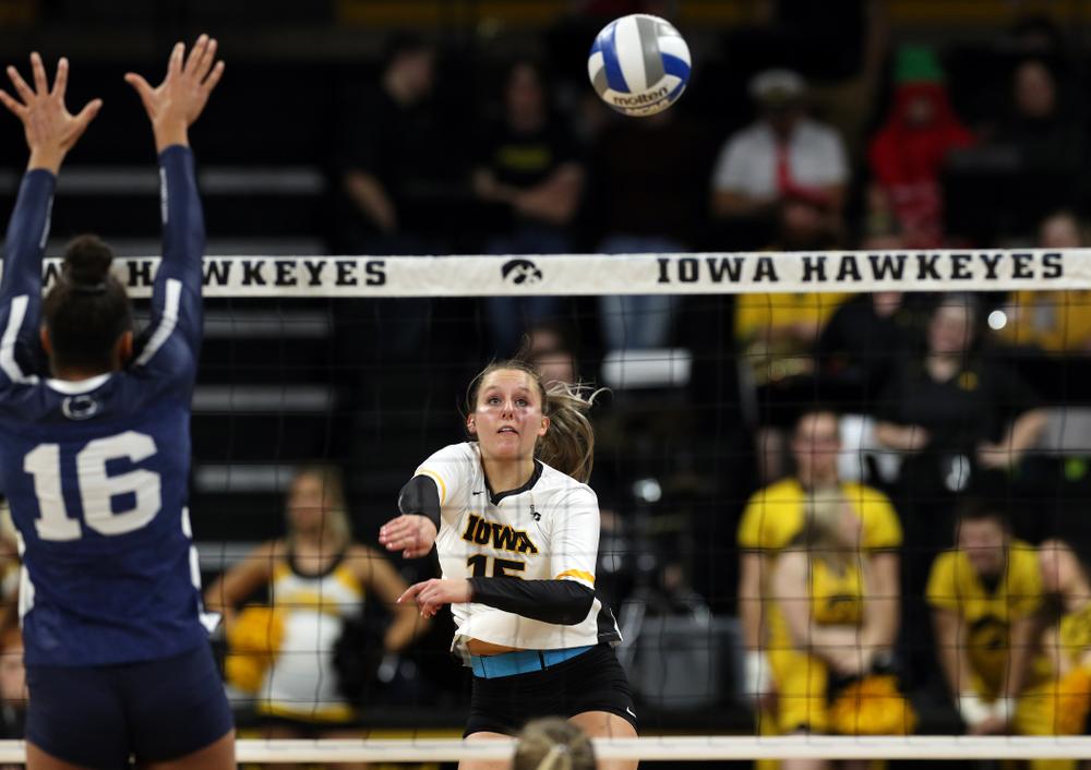 Iowa Hawkeyes defensive specialist Maddie Slagle (15) against Penn State Friday, November 1, 2019 at Carver Hawkeye Arena. (Brian Ray/hawkeyesports.com)