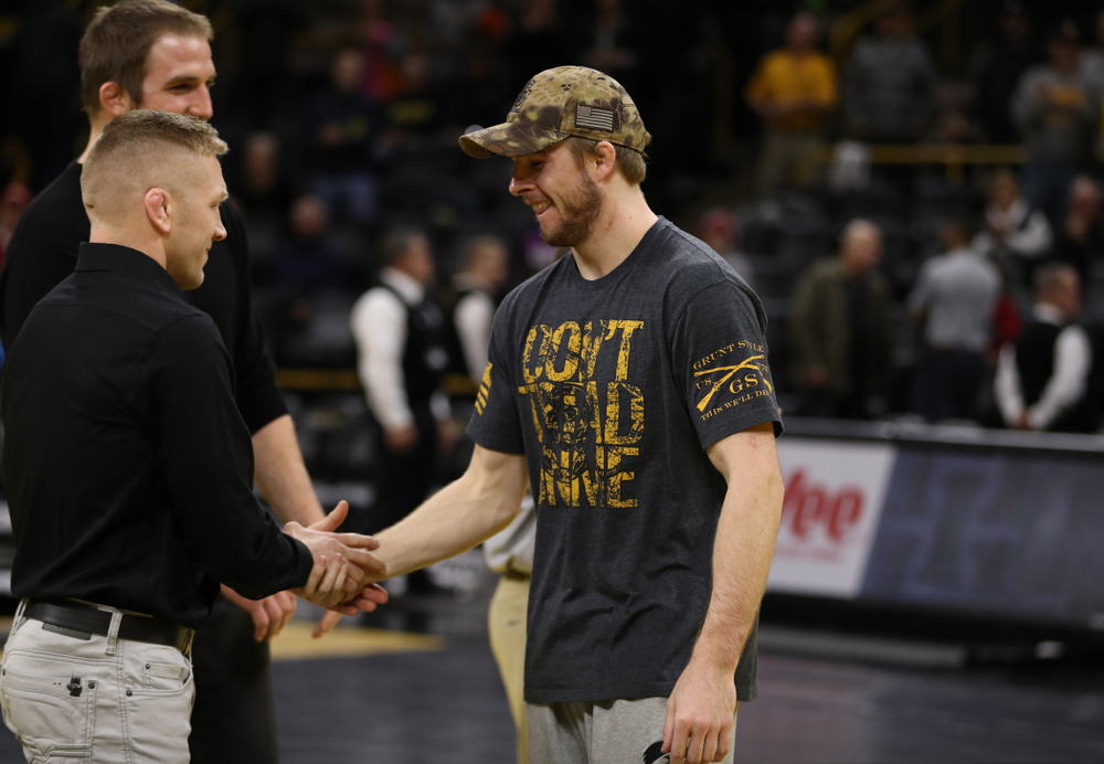 Iowa senior Mitch Bowman during senior night following their meet against the Indiana Hoosiers Friday, February 15, 2019 at Carver-Hawkeye Arena. (Brian Ray/hawkeyesports.com)