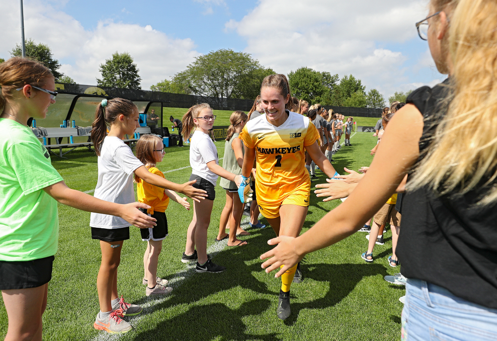 Iowa goalkeeper Claire Graves (1) takes the field for their match at the Iowa Soccer Complex in Iowa City on Sunday, Sep 1, 2019. (Stephen Mally/hawkeyesports.com)