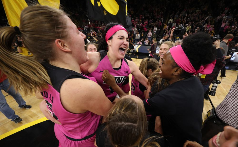 The Iowa Hawkeyes celebrate their victory over the seventh ranked Maryland Terrapins Sunday, February 17, 2019 at Carver-Hawkeye Arena. (Brian Ray/hawkeyesports.com)