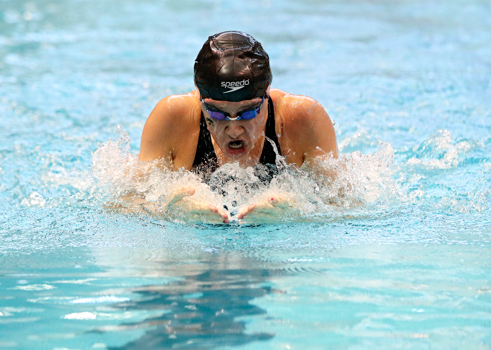 Iowa's Zoe Mekus swims the women's 100 yard breaststroke preliminary event during the 2020 Women's Big Ten Swimming and Diving Championships at the Campus Recreation and Wellness Center in Iowa City on Friday, February 21, 2020. (Stephen Mally/hawkeyesports.com)