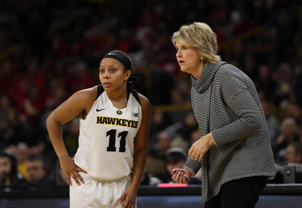 Iowa Hawkeyes head coach Lisa Bluder and guard Tania Davis (11) against the Nebraska Cornhuskers Thursday, January 3, 2019 at Carver-Hawkeye Arena. (Brian Ray/hawkeyesports.com)