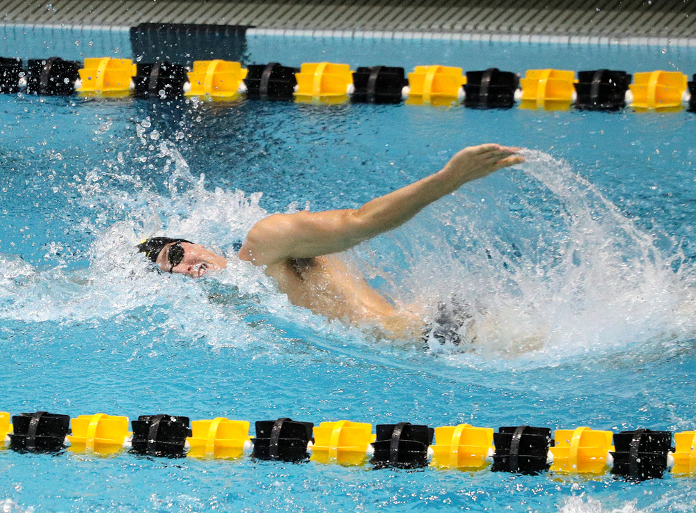 Iowa's Thomas Pederson swims the men's 200-yard freestyle event during their meet against Michigan State and Northern Iowa at the Campus Recreation and Wellness Center in Iowa City on Friday, Oct 4, 2019. (Stephen Mally/hawkeyesports.com)