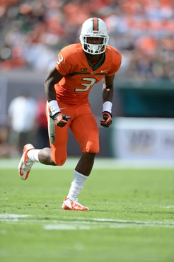 University of Miami Hurricanes wide receiver Stacy Coley #3 plays in a game against the Wake Forest Demon Deacons at Sun Life Stadium on October 26,...