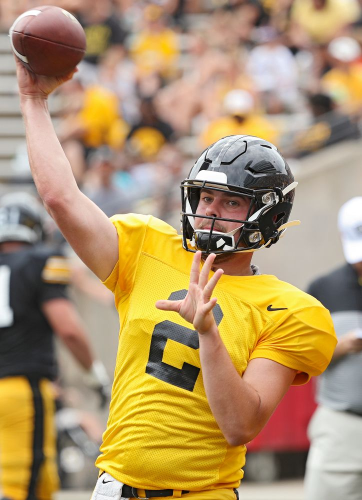 Iowa Hawkeyes quarterback Peyton Mansell (2) throws during Fall Camp Practice No. 8 at Kids Day at Kinnick Stadium in Iowa City on Saturday, Aug 10, 2019. (Stephen Mally/hawkeyesports.com)