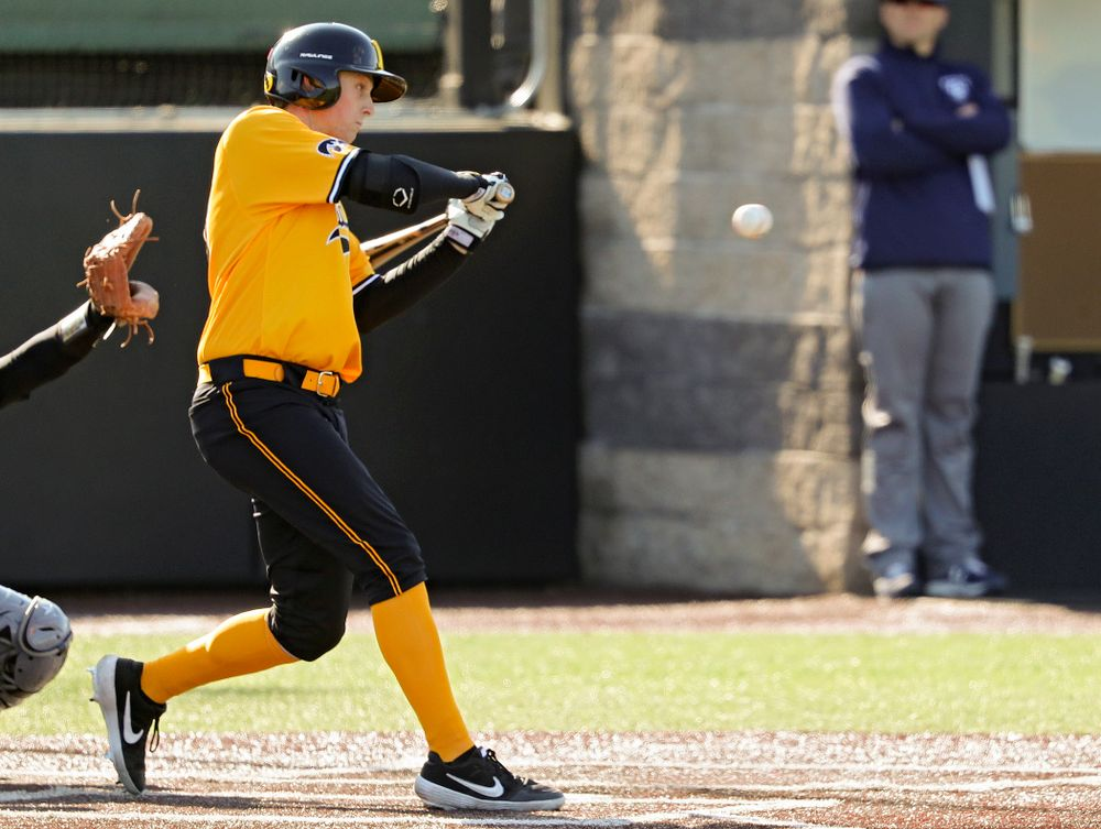 Iowa Hawkeyes right fielder Trenton Wallace (38) drives in a run during the first inning of their game at Duane Banks Field in Iowa City on Tuesday, Apr. 2, 2019. (Stephen Mally/hawkeyesports.com)