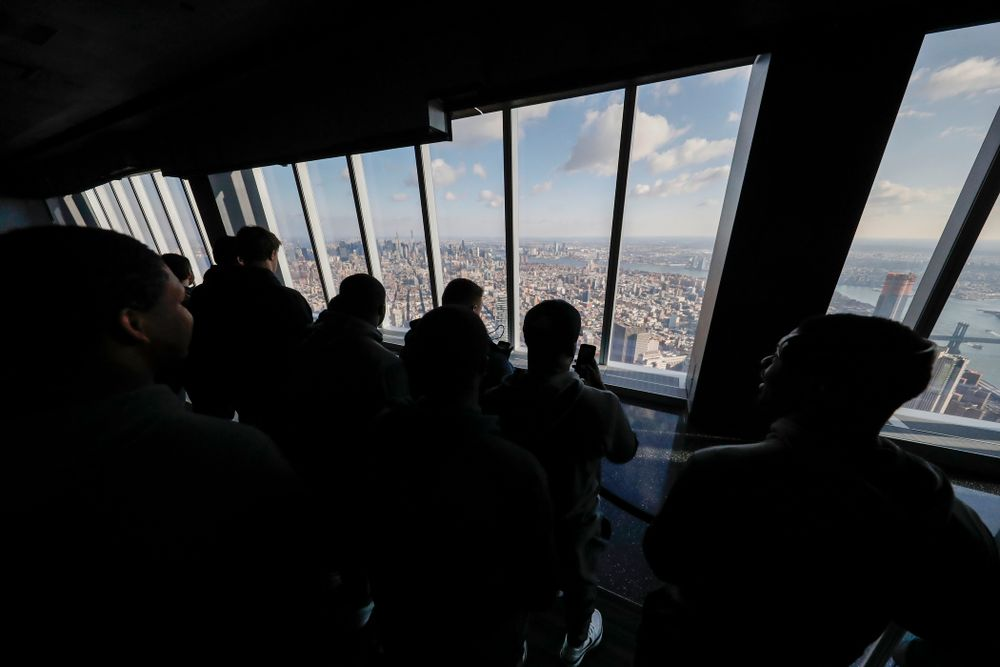 The Iowa Hawkeyes visit the observation deck of the One World Trade Center and the 9/11 Memorial and Museum.