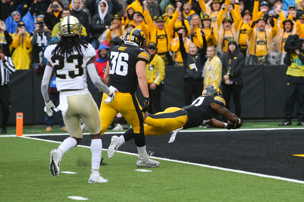 Iowa Hawkeyes running back Mekhi Sargent (10) during Iowa football vs Purdue on Saturday, October 19, 2019 at Kinnick Stadium. (Lily Smith/hawkeyesports.com)