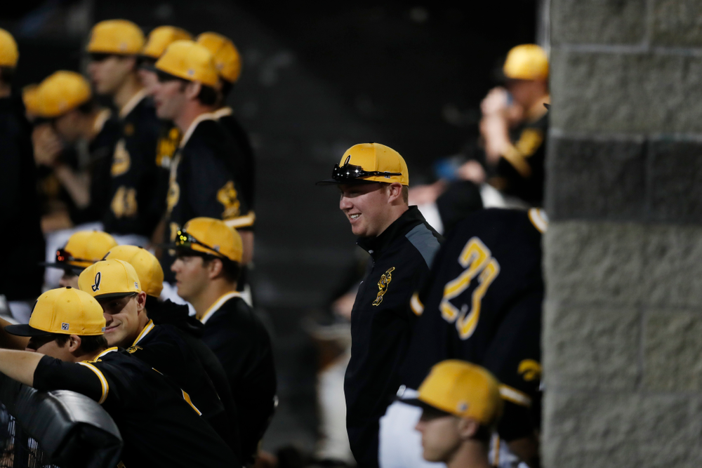 Iowa Hawkeyes graduate assistant Shane Schmidt against Milwaukee Wednesday, April 25, 2018 at Duane Banks Field. (Brian Ray/hawkeyesports.com)