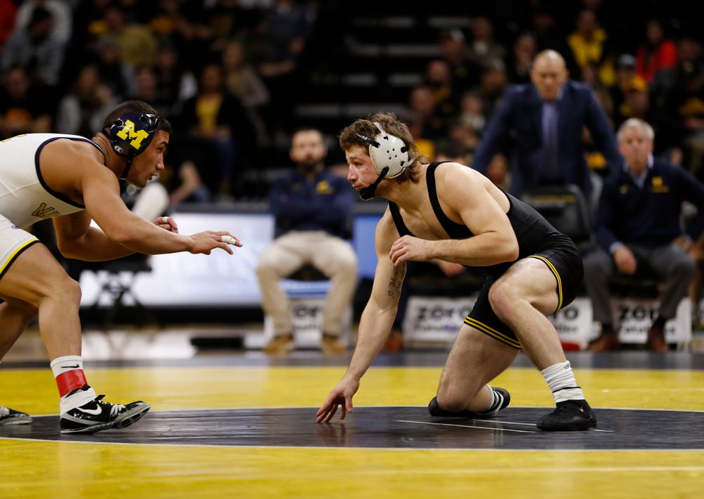 Iowa's Jeren Glosser against Michigan's Alex Pantaleo at 157 pounds