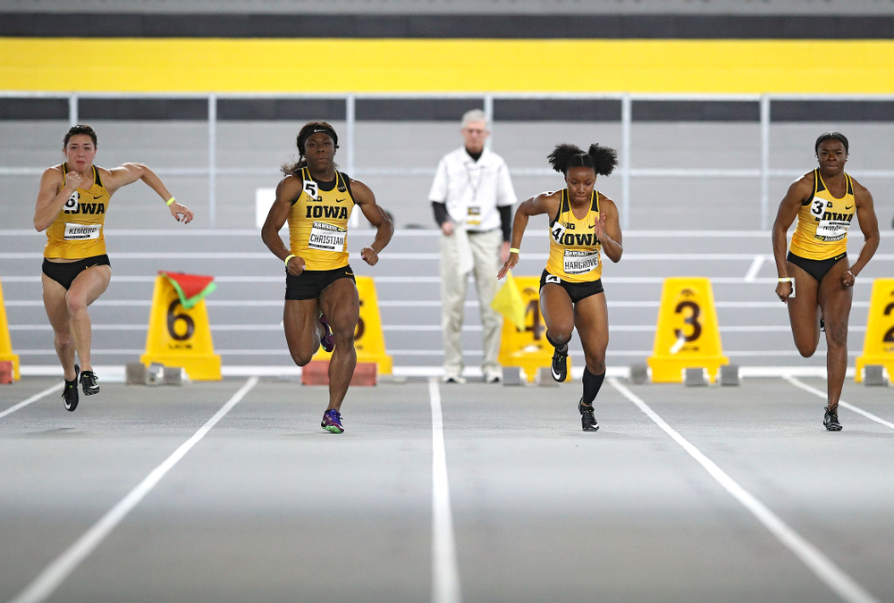 Iowa's Jenny Kimbro (from left), Antonise Christian, Lasarah Hargrove, and Traci Brown run the women's 60 meter dash event during the Hawkeye Invitational at the Recreation Building in Iowa City on Saturday, January 11, 2020. (Stephen Mally/hawkeyesports.com)