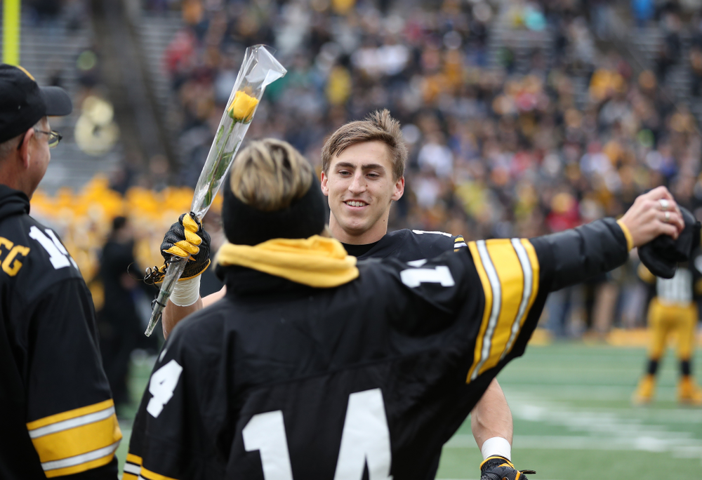 wide receiver Kyle Groeneweg (14) during senior day activities before their game against the Nebraska Cornhuskers Friday, November 23, 2018 at Kinnick Stadium. (Brian Ray/hawkeyesports.com)