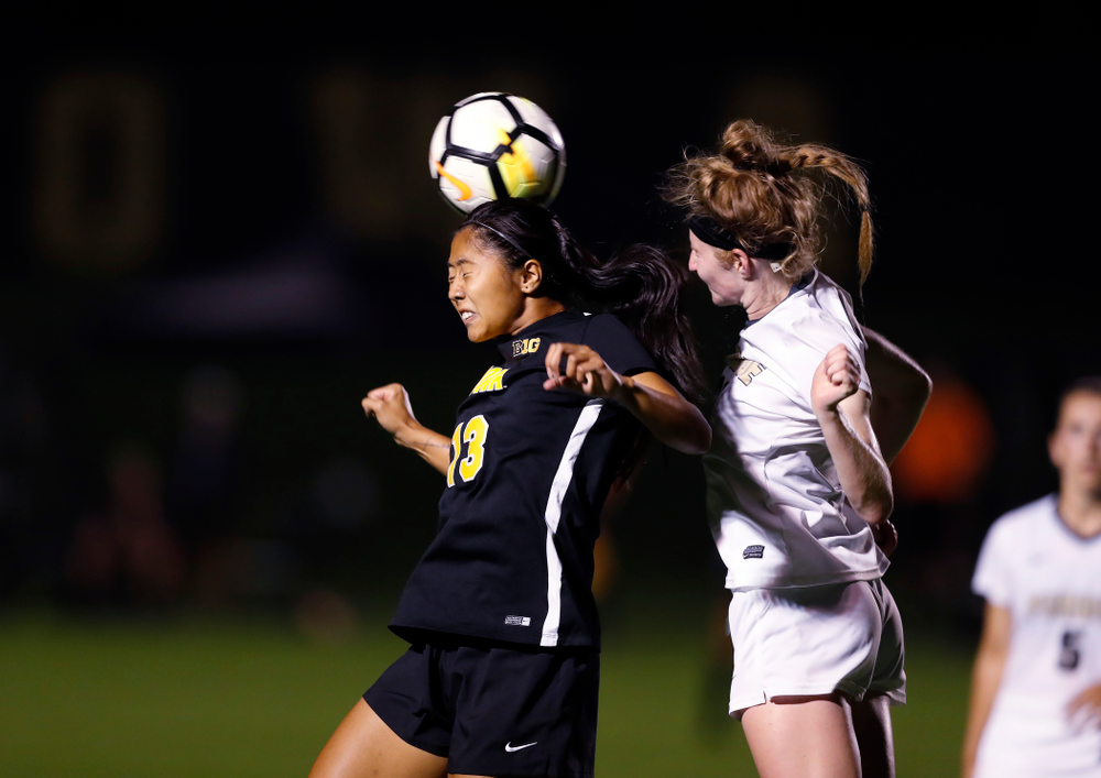 Iowa Hawkeyes Bianca Acuario (13) against the Purdue Boilermakers Thursday, September 20, 2018 at the Iowa Soccer Complex. (Brian Ray/hawkeyesports.com)