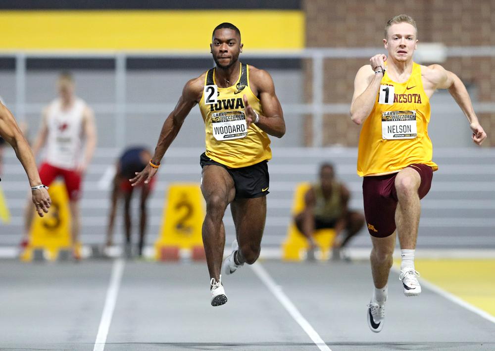 Iowa's Antonio Woodard runs the men's 60 meter dash premier preliminary event during the Larry Wieczorek Invitational at the Recreation Building in Iowa City on Saturday, January 18, 2020. (Stephen Mally/hawkeyesports.com)