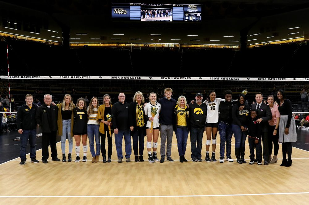 The Iowa Volleyball seniors before their game against the Ohio State Buckeyes Saturday, November 24, 2018 at Carver-Hawkeye Arena. (Brian Ray/hawkeyesports.com)