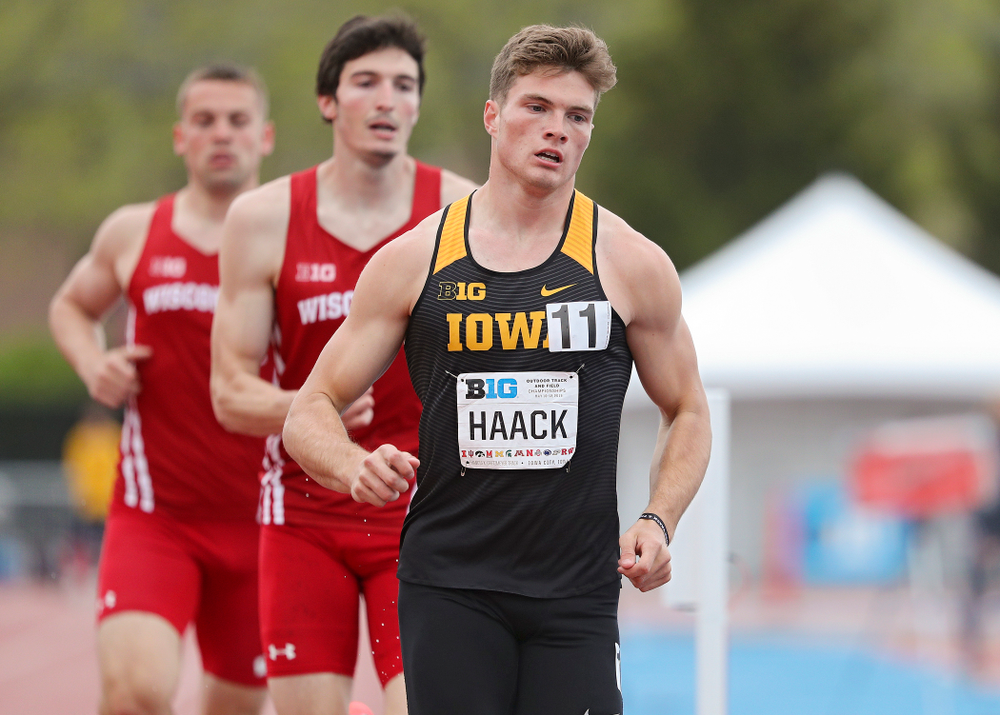 Iowa's Peyton Haack runs the men's 1500 meter in the decathlon event on the second day of the Big Ten Outdoor Track and Field Championships at Francis X. Cretzmeyer Track in Iowa City on Saturday, May. 11, 2019. (Stephen Mally/hawkeyesports.com)