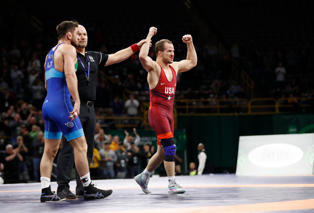 Logan Stieber during the gold medal match of the United World Wrestling Freestyle World Cup against Azerbaijan Sunday, April 8, 2018 at Carver-Hawkeye Arena. (Brian Ray/hawkeyesports.com)