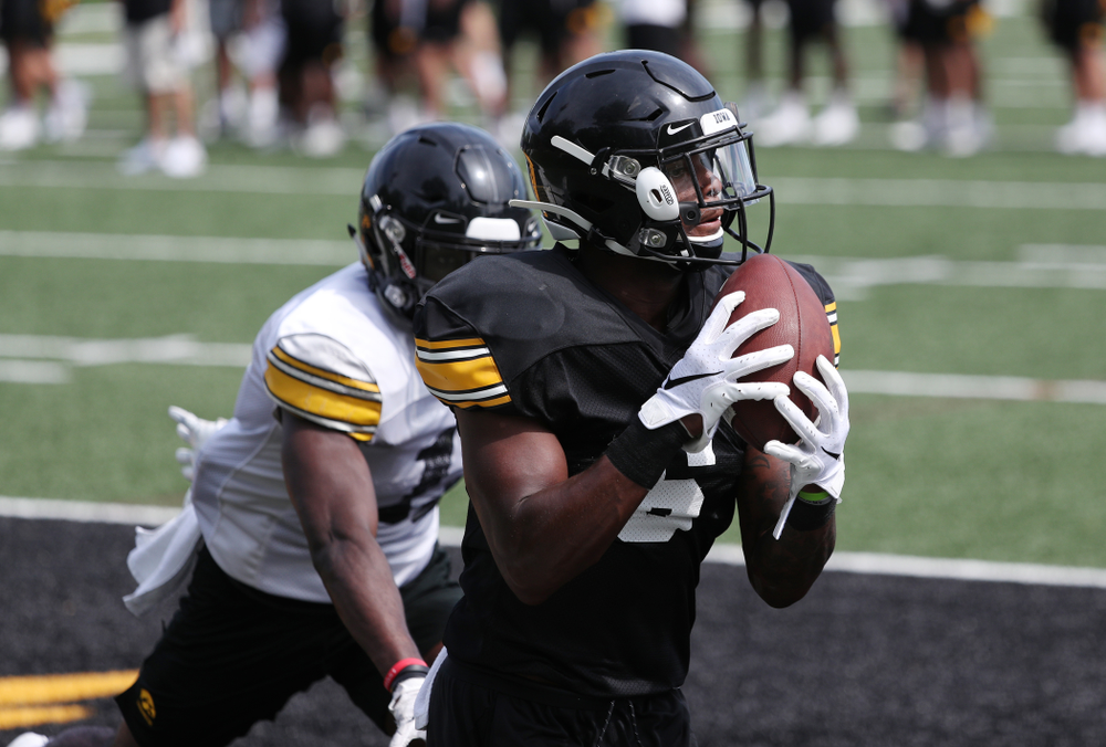 Iowa Hawkeyes wide receiver Ihmir Smith-Marsette (6) During Fall Camp Practice No. 4 Monday, August 5, 2019 at the Ronald D. and Margaret L. Kenyon Football Practice Facility. (Brian Ray/hawkeyesports.com)