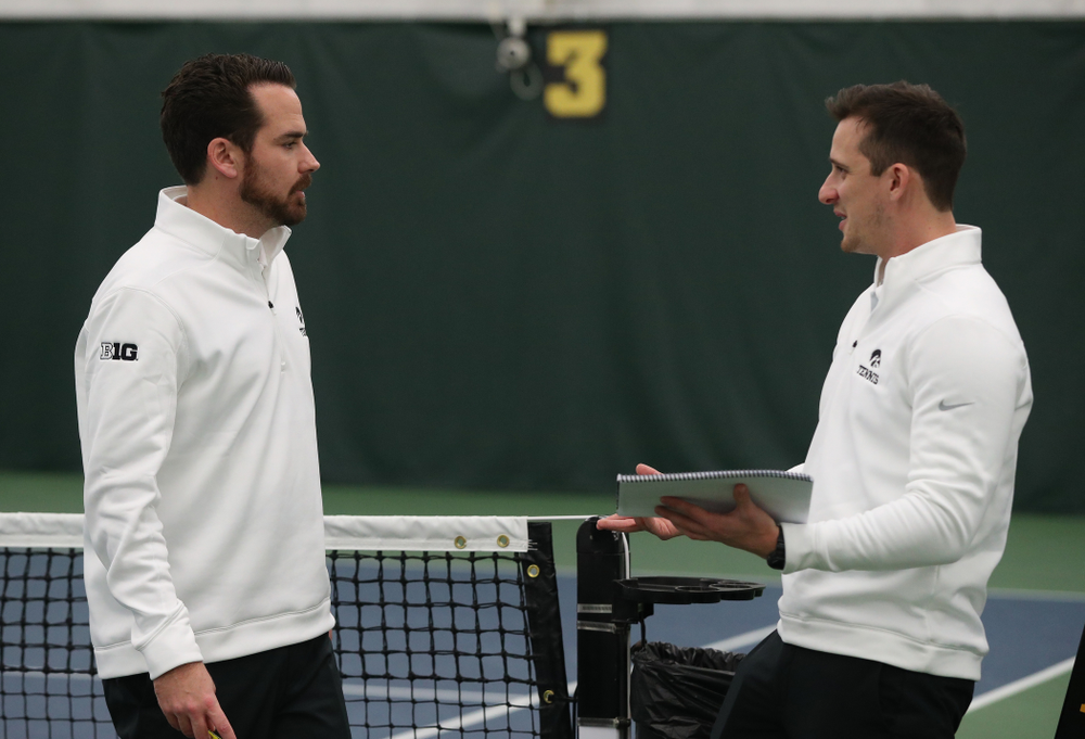 Iowa Hawkeyes head coach Ross Wilson and assistant coach Joey Manilla against the Butler Bulldogs Sunday, January 27, 2019 at the Hawkeye Tennis and Recreation Complex. (Brian Ray/hawkeyesports.com)