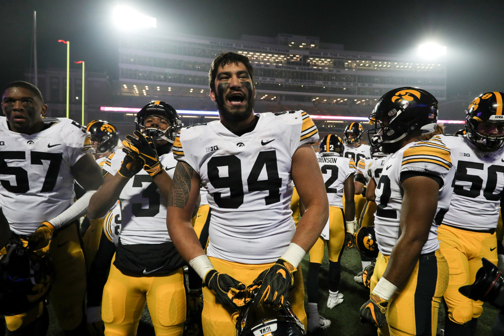 Iowa Hawkeyes defensive end A.J. Epenesa (94) following their game against the Illinois Fighting Illini Saturday, November 17, 2018 at Memorial Stadium in Champaign, Ill. (Brian Ray/hawkeyesports.com)