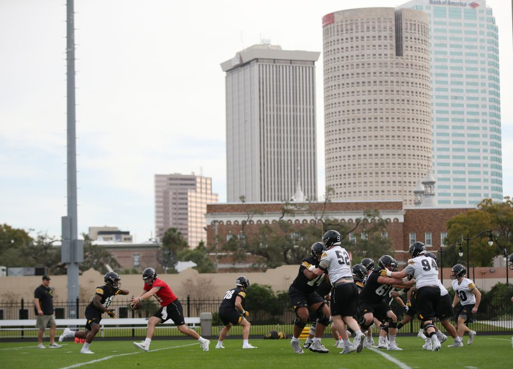 The Iowa Hawkeyes during the team's first Outback Bowl Practice in Florida Thursday, December 27, 2018 at Tampa University. (Brian Ray/hawkeyesports.com)