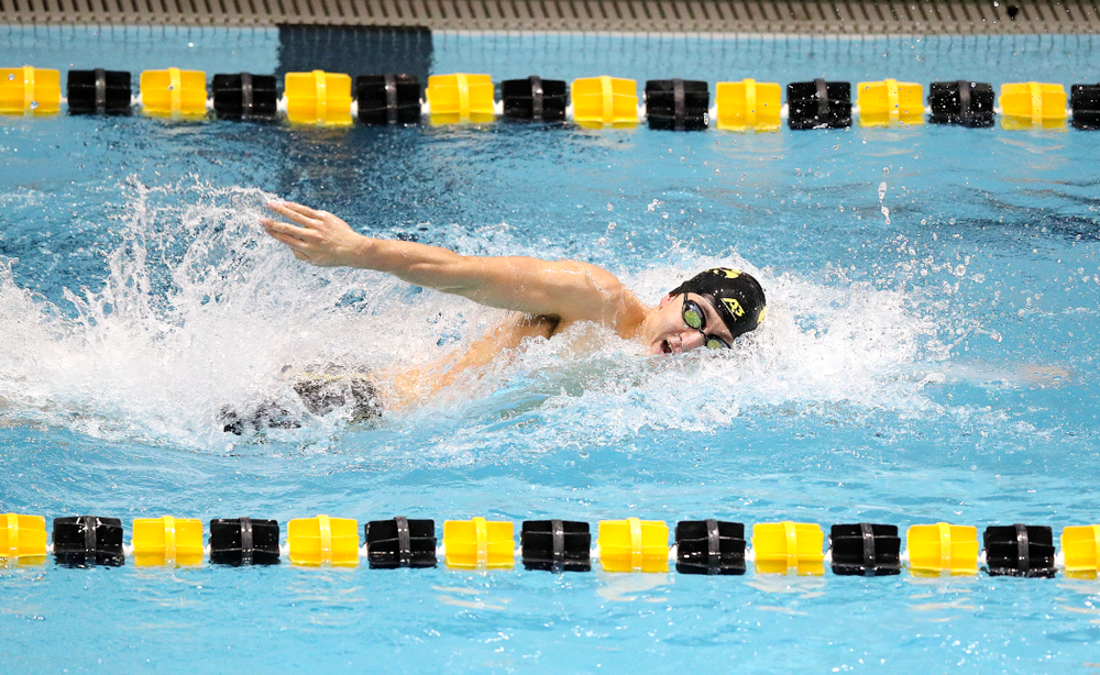 Iowa's Michael Tenney swims the men's 200 yard freestyle event during their meet at the Campus Recreation and Wellness Center in Iowa City on Friday, February 7, 2020. (Stephen Mally/hawkeyesports.com)