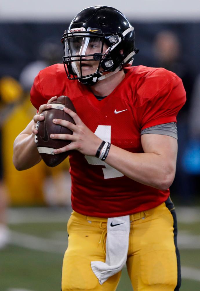 Nate Stanley -- University of Iowa spring football practice No. 6 on March 31, 2018, in Iowa City, Iowa. (Darren Miller/hawkeyesports.com)