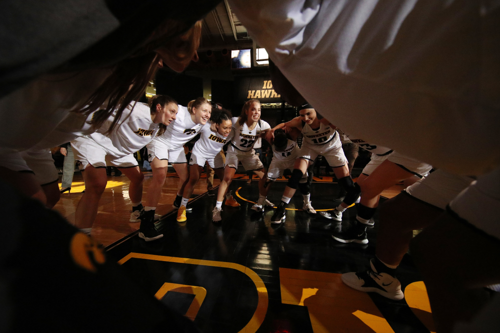 The Iowa Hawkeyes before their game against the Rutgers Scarlet Knights Wednesday, January 23, 2019 at Carver-Hawkeye Arena. (Brian Ray/hawkeyesports.com)