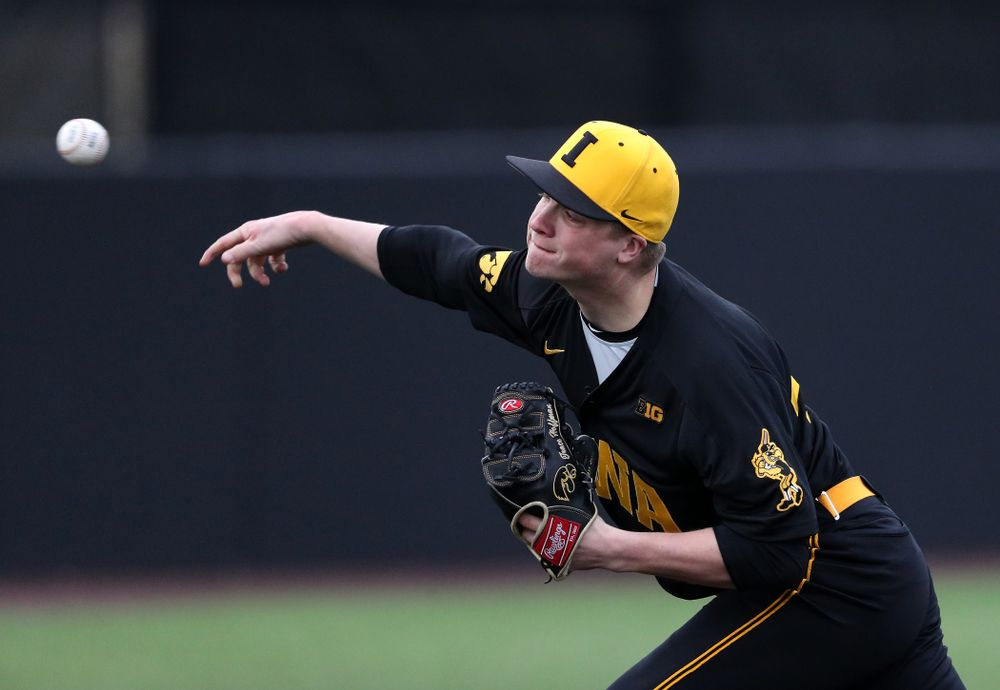 Iowa Hawkeyes Trace Hoffman (42) against Simpson College Tuesday, March 19, 2019 at Duane Banks Field. (Brian Ray/hawkeyesports.com)