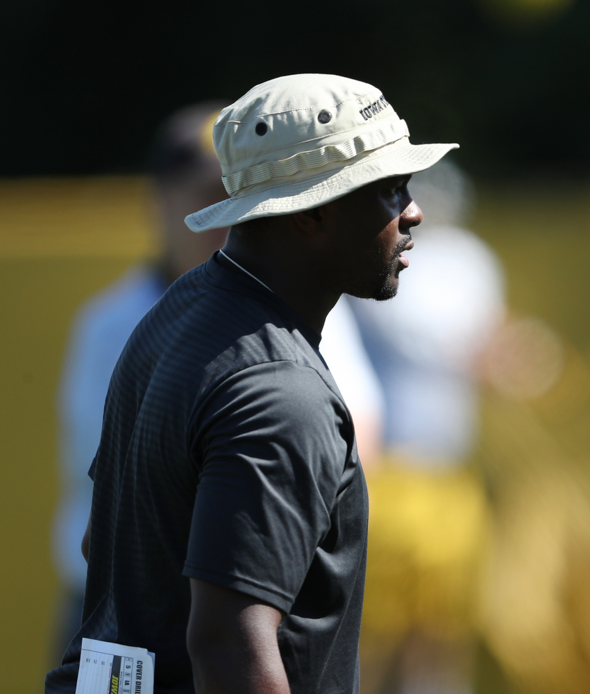Iowa Hawkeyes running backs coach Derrick Foster during Fall Camp Practice No. 5 Tuesday, August 6, 2019 at the Ronald D. and Margaret L. Kenyon Football Practice Facility. (Brian Ray/hawkeyesports.com)