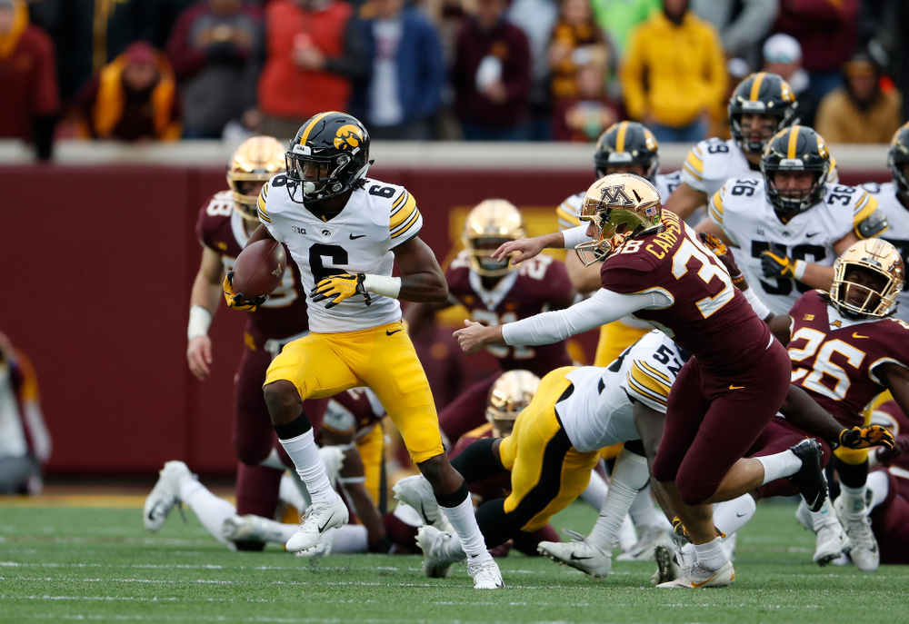 Iowa Hawkeyes wide receiver Ihmir Smith-Marsette (6) reruns a kick against the Minnesota Golden Gophers Saturday, October 6, 2018 at TCF Bank Stadium. (Brian Ray/hawkeyesports.com)