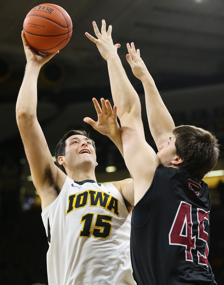 Iowa Hawkeyes forward Ryan Kriener (15) puts up a shot in the paint during a game against Guilford College at Carver-Hawkeye Arena on November 4, 2018. (Tork Mason/hawkeyesports.com)