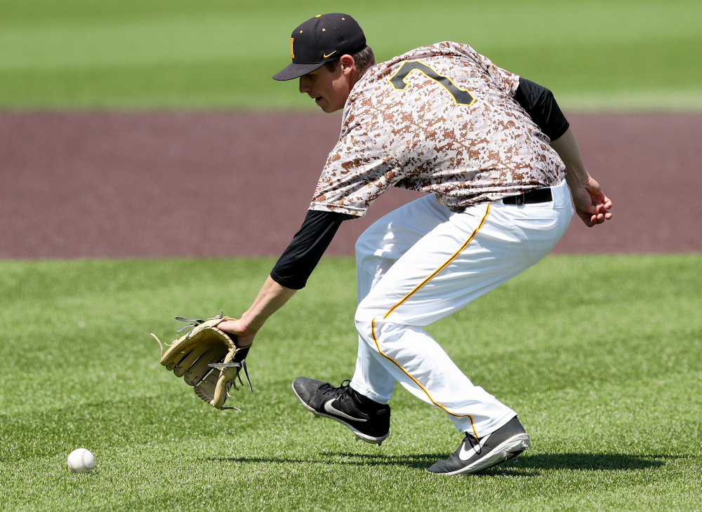 Iowa Hawkeyes pitcher Grant Judkins (7) fields a bunt during the fourth inning of their game against UC Irvine at Duane Banks Field in Iowa City on Sunday, May. 5, 2019. (Stephen Mally/hawkeyesports.com)