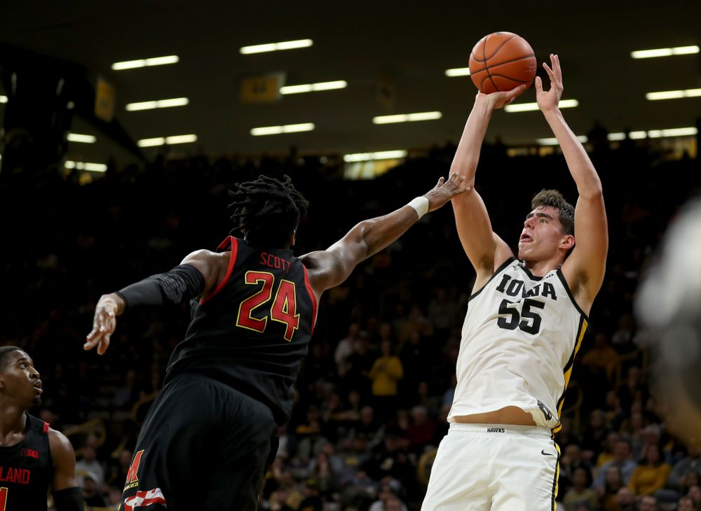 Iowa Hawkeyes forward Luka Garza (55) puts up a shot against the Maryland Terrapins Friday, January 10, 2020 at Carver-Hawkeye Arena. (Brian Ray/hawkeyesports.com)