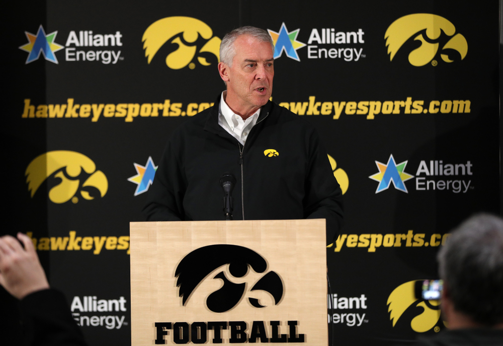 Henry B. and Patricia B. Tippie Director of Athletics Chair Gary Barta addresses the media about the Hawkeyes selection to face Mississippi State in the Outback Bowl Sunday, December 2, 2018 at the Hansen Football Performance Center. (Brian Ray/hawkeyesports.com)
