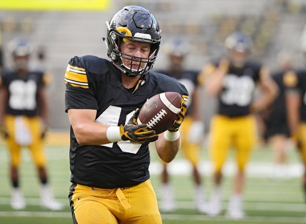 Iowa Hawkeyes tight end Bryce Schulte (48) pulls in a pass during Fall Camp Practice No. 12 at Kinnick Stadium in Iowa City on Thursday, Aug 15, 2019. (Stephen Mally/hawkeyesports.com)