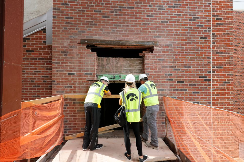 A new opening that connects the club level of the new north end zone  to a service corridor, and storage area in the west stands under the press box Wednesday, June 6, 2018 at Kinnick Stadium. The corridor allows the club area to utilize the commercial kitchen in the press box. (Brian Ray/hawkeyesports.com)