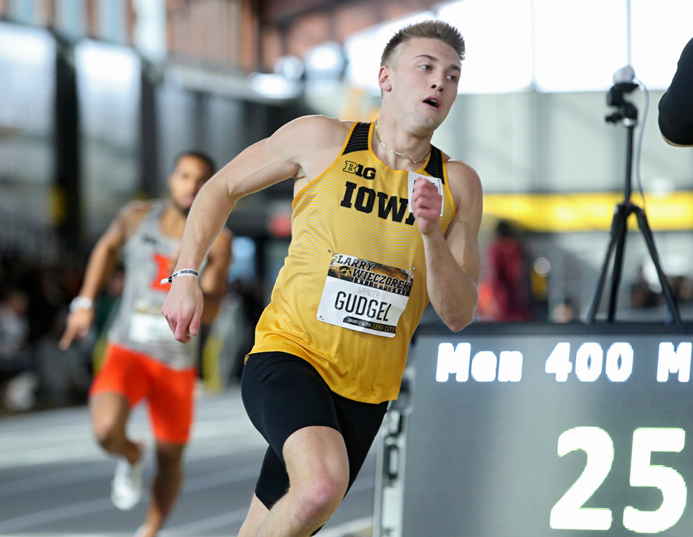 Iowa's Spencer Gudgel runs the men's 400 meter dash event during the Larry Wieczorek Invitational at the Recreation Building in Iowa City on Saturday, January 18, 2020. (Stephen Mally/hawkeyesports.com)