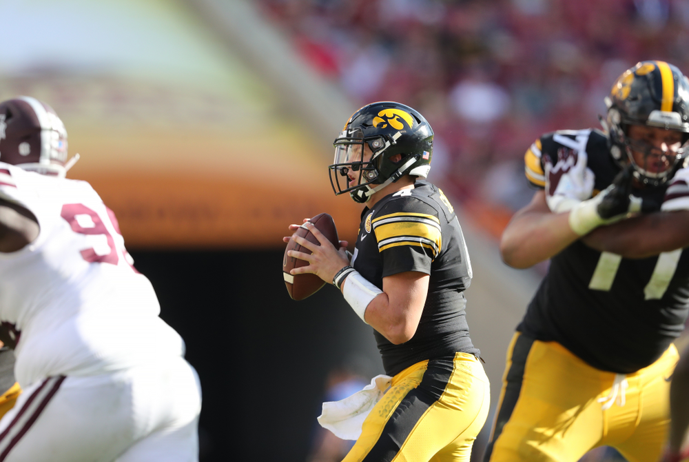 Iowa Hawkeyes quarterback Nate Stanley (4) during their Outback Bowl Tuesday, January 1, 2019 at Raymond James Stadium in Tampa, FL. (Brian Ray/hawkeyesports.com)