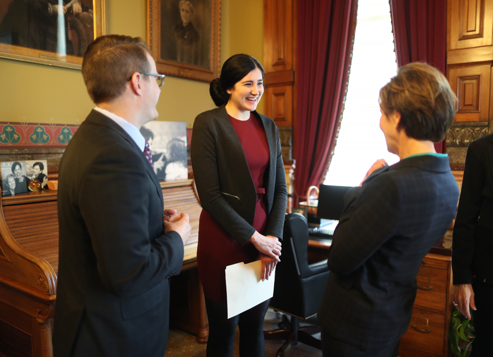 Iowa's Megan Gustafson meets with Governor Kim Reynolds and Lt. Governor Adam Gregg at the Iowa State Capitol Wednesday, April 24, 2019 in Des Moines. (Brian Ray/hawkeyesports.com)