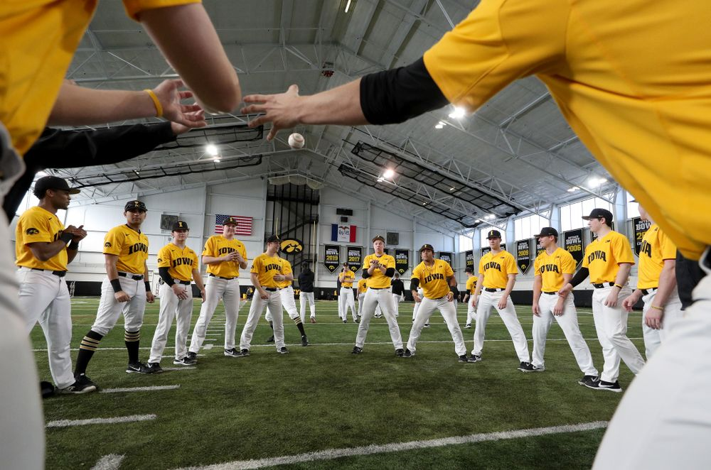 The Iowa Hawkeyes play two ball before practice Thursday, February 6, 2020 at the Indoor Practice Facility. (Brian Ray/hawkeyesports.com)