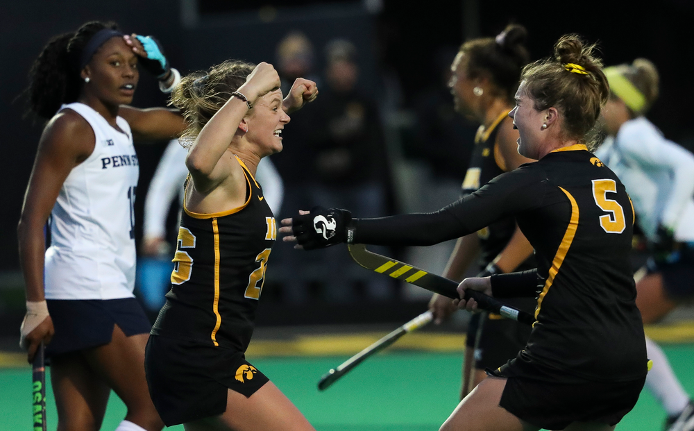 Iowa Hawkeyes forward Madeleine Murphy (26) celebrates after scoring a game-winning goal during a game against No. 6 Penn State at Grant Field on October 12, 2018. (Tork Mason/hawkeyesports.com)